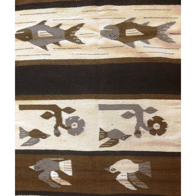 1970s Vintage Wall Tapestry / Area Rug - 4′5″ × 6′3″ For Sale - Image 9 of 11
