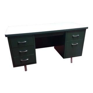Vintage Industrial Mid Century Modern Metal Tanker Desk For Sale