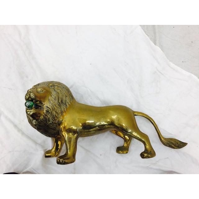 Gold Vintage Brass Lion Sculpture For Sale - Image 8 of 10