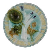 Image of 19th C. French Salins-les-Bains Majolica Asparagus & Artichoke Plate For Sale