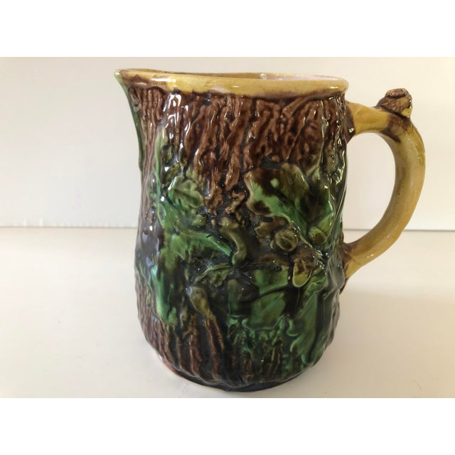 Ceramic Antique Majolica Oak Leaves and Acorns Pitcher For Sale - Image 7 of 9