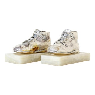 Vintage Silver Plated Shoes Bookends - a Pair For Sale