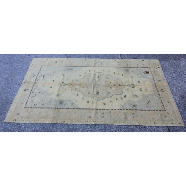 "Islamic Vintage Turkish Hand Knotted Oushak Rug - 5'8"" X 9' For Sale - Image 3 of 5"