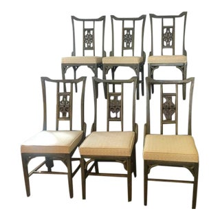 Mid 20th Century Chinese Style Dining Chairs - Set of 6 For Sale
