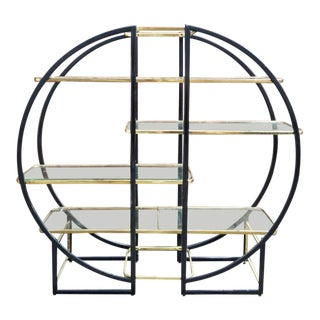 Milo Baughman Style Circular Brass and Black Metal Etagere For Sale