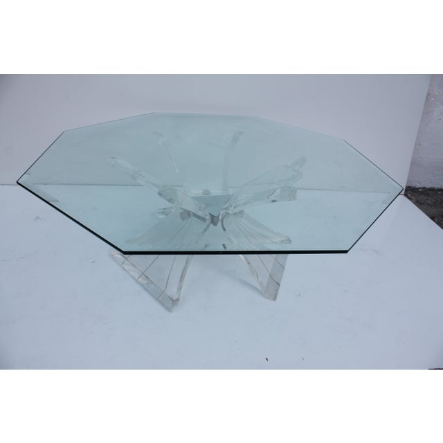 Transparent Vintage Triple Butterfly Base Coffee Table For Sale - Image 8 of 8