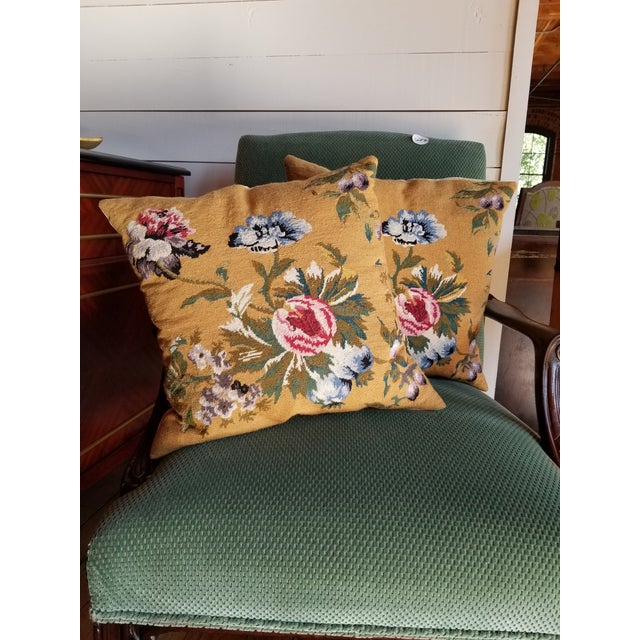 English Vintage Needlepoint Floral Pillows - a Pair For Sale - Image 3 of 11