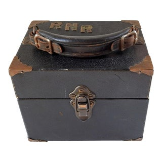 Vintage Leather & Brass Gamblers or Ammo Case For Sale