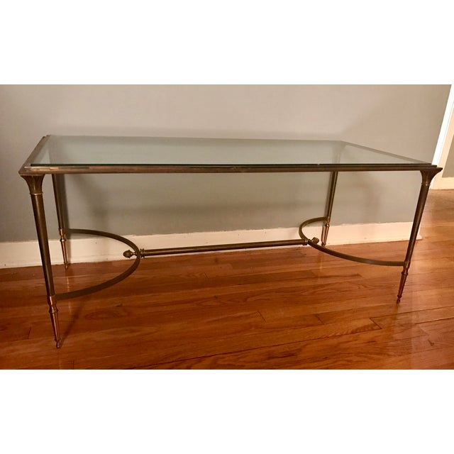 Vintage Polished Brass and Steel Cocktail Table - Image 2 of 6