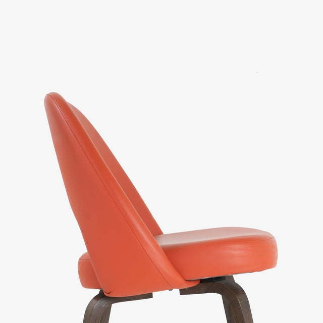 2010s Saarinen Executive Armless Chairs in Burnt Orange Leather and Walnut Legs, Pair For Sale - Image 5 of 8