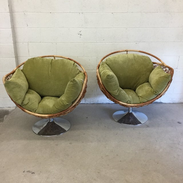 Boho Chic Wicker & Chrome Tulip Base Pod Lounge Chairs - a Pair For Sale - Image 3 of 13