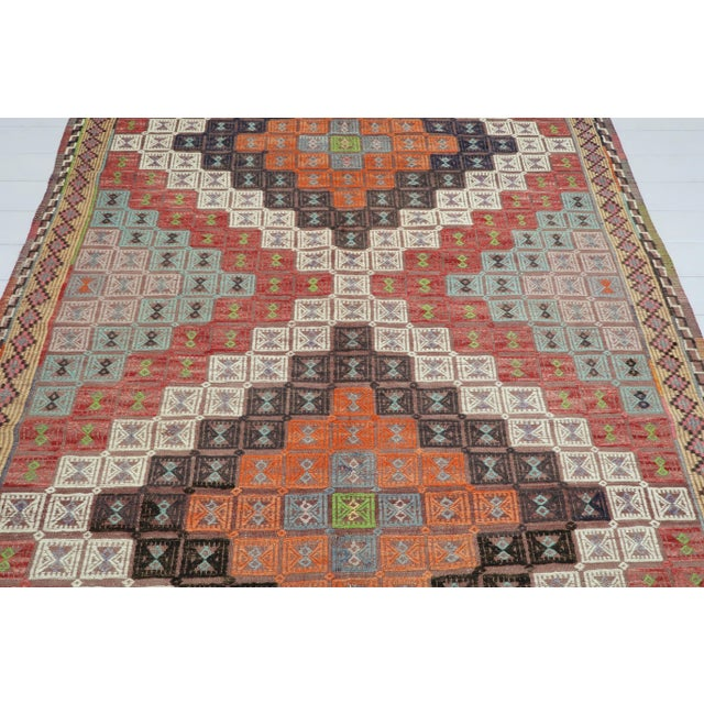 This beautifully embroidered rug from western of turkey. Oushak nomads kilim weave with traditional Turkish kilim...