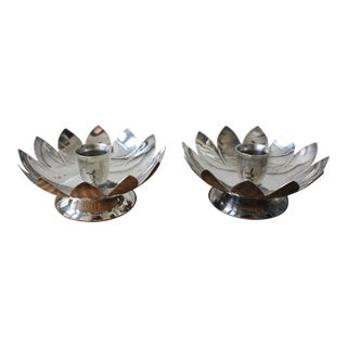 Lotus Flower Shaped Candlestick Holders - A Pair For Sale