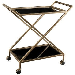 Antique Gold Black Glass Bar Cart