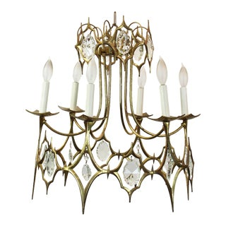Italian Brass & Crystal Chandelier For Sale