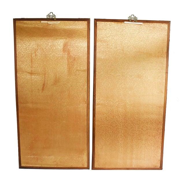 Original Asian Wood Panel Paintings - a Pair - Image 5 of 7