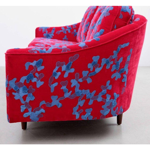 Cotton Harvey Probber Sofa with Jupe by Jackie hand embroidered fabric For Sale - Image 7 of 9