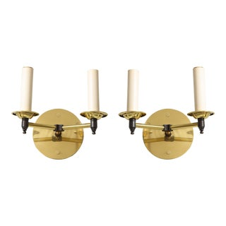 Bespoke Two-Arm Brass Sconces - a Pair For Sale
