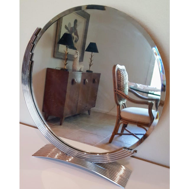 C. 1980 chrome on steel mirror suitable for a vanity, bath counter, or anywhere in the home or a shop. Distinctive mid...