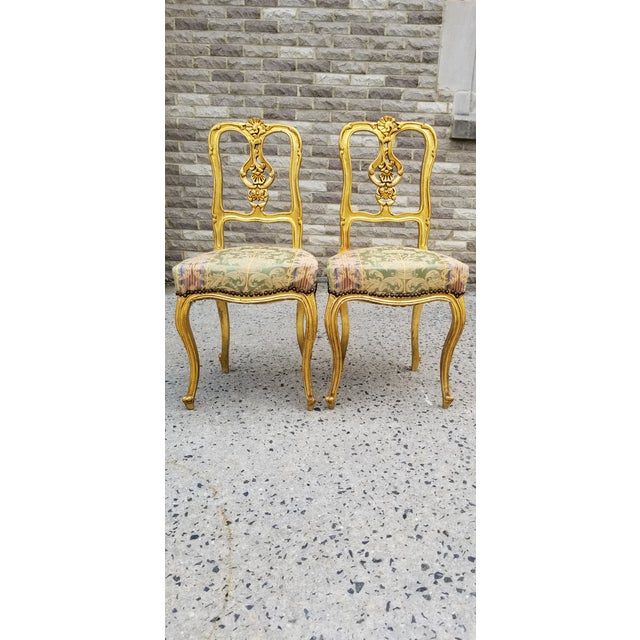 Antique French Louis XV Style Rococo Giltwood Parlor Chairs-A Pair For Sale - Image 11 of 11