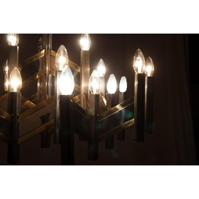 Italian Chrome and Brass Chevron Chandelier with 21 Lights by Gaetano Sciolari, 1966 For Sale - Image 9 of 11