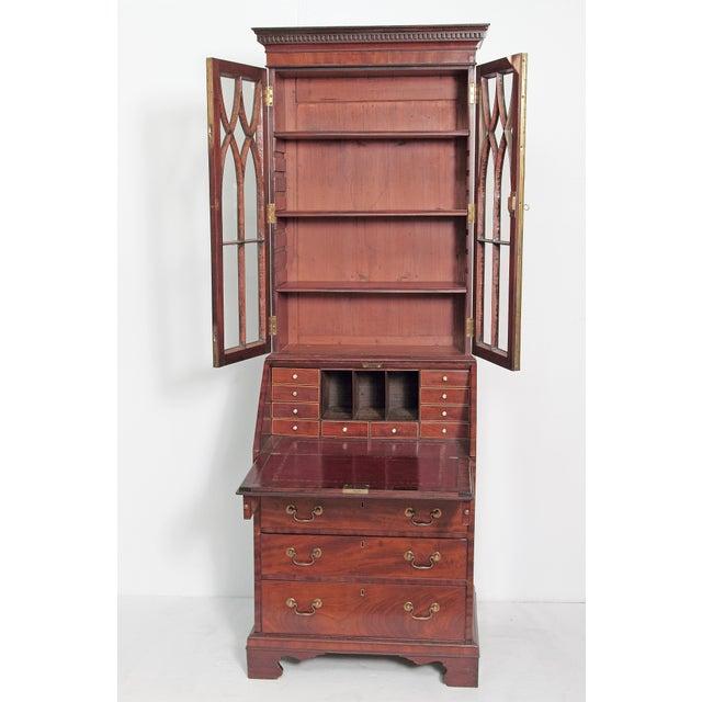 Georgian Period George III Secretary Bookcase of Mahogany For Sale - Image 3 of 11