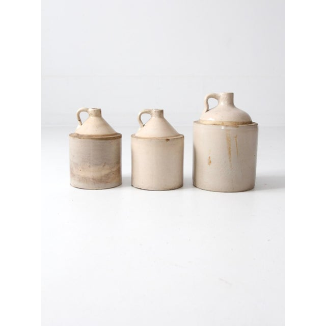 White Antique Stoneware Crock Jugs - Set of 3 For Sale - Image 8 of 8