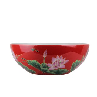 Pasargad DC Modern Red & White Motif Sink Bowl For Sale