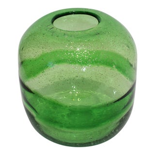 1970s Artisan Translucent Greens Glass Vase With Silver Flecks and Bubbles For Sale