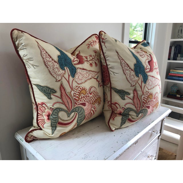 2010s Jacobean Clarence House Floral Euro Pillows - a Pair For Sale - Image 5 of 7