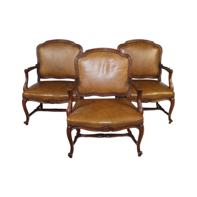 Louis XV-Style Brown Leather Chairs - Set of 3 - Image 1 of 5