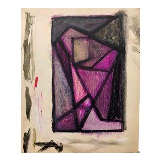 """Donald Stacy """"Purple Head"""" C.1950s Gouache and Oil Pastel Mid Century Portrait For Sale"""