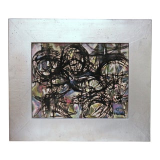 Modernist Norman Gorbaty Oil Painting, Circa 1950s For Sale