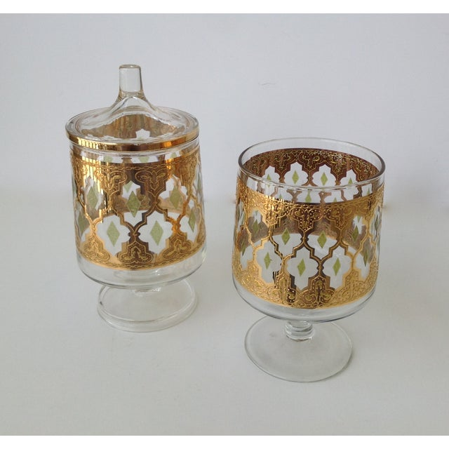"Culver ""Valencia"" Gilt Footed Containers - Pair - Image 6 of 9"