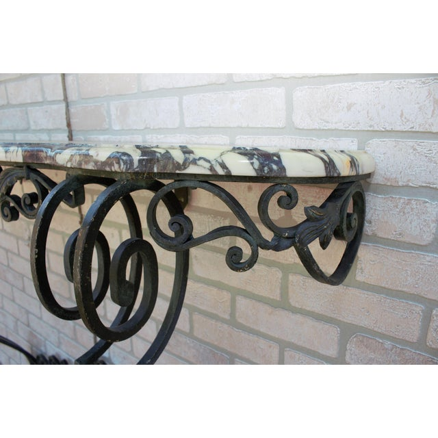 Antique French Victorian Wrought Iron Base Console Table For Sale - Image 9 of 13