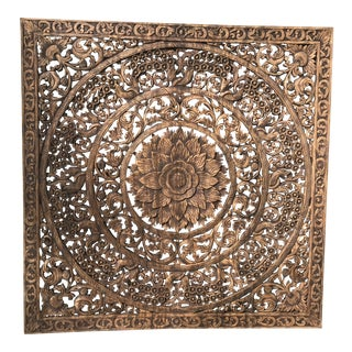 Vintage Thai Carved Wood Panel For Sale