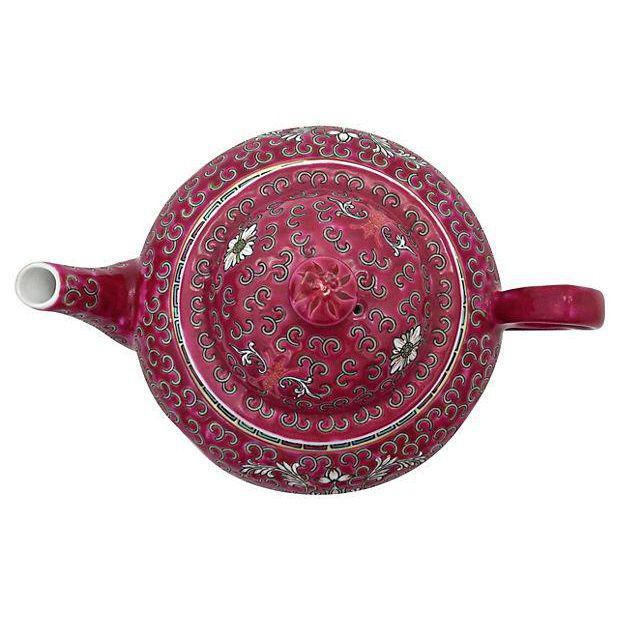 MunShou Red Porcelain Tea Pot - Image 4 of 6