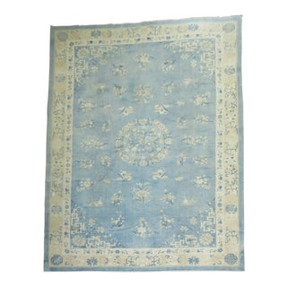 Light Blue Cream Oversize Antique Chinese 10'' For Sale