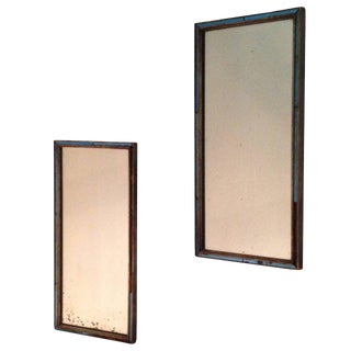Pair of 19th Century English Regency Mirrors with Cobalt Glass Filet For Sale