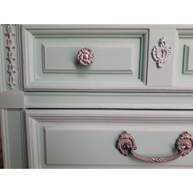 Shabby Chic Aqua Blue Chalk Paint Writing Desk For Sale - Image 3 of 8