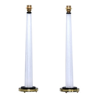Tall Slender Seguso White Murano Glass Lamps - a Pair For Sale