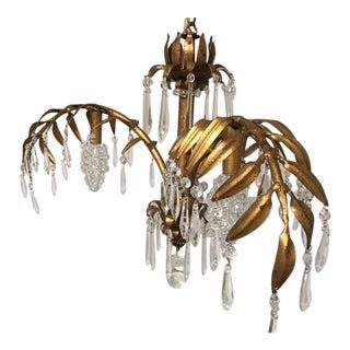 Italian Gold Leaf 3-Arm Chandelier