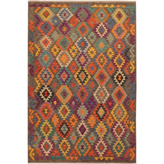 Mary Gray/Blue Hand-Woven Kilim Wool Rug -5'10 X 8'4 For Sale
