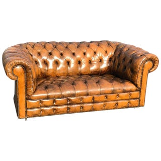 SOLD-Antique Classic Leather Chesterfield Love Seat