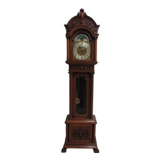 Antique Victorian Mahogany Paw Foot Grandfather Clock Simons Bro Co Philadelphia For Sale