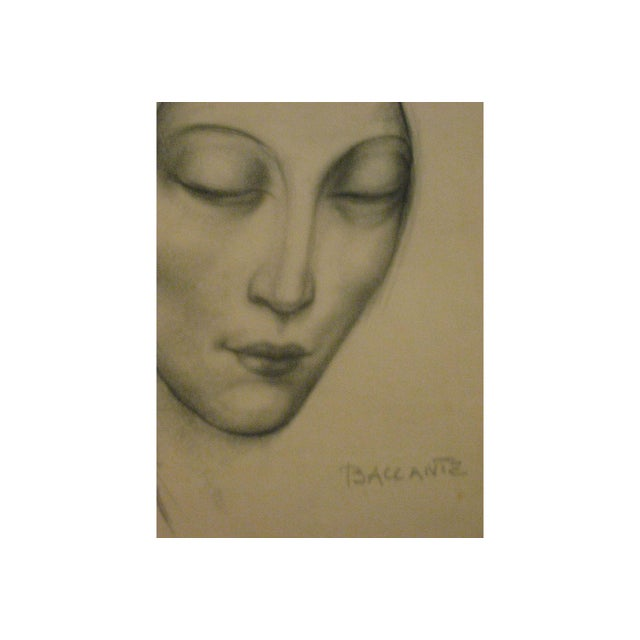 Enzo Baccante Art Deco Pencil Portrait - Image 4 of 6