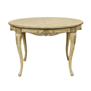 Swedish Rococo Style Round Painted and Carved Wood Centre Table For Sale