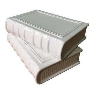 White Ceramic Books - a Pair For Sale