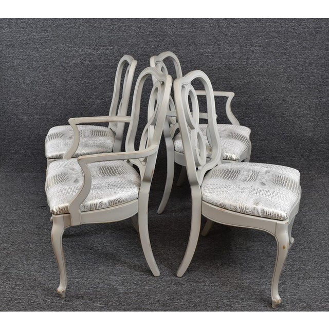 Wood Set of Four French Country Louis XV Style Dining Chairs For Sale - Image 7 of 11