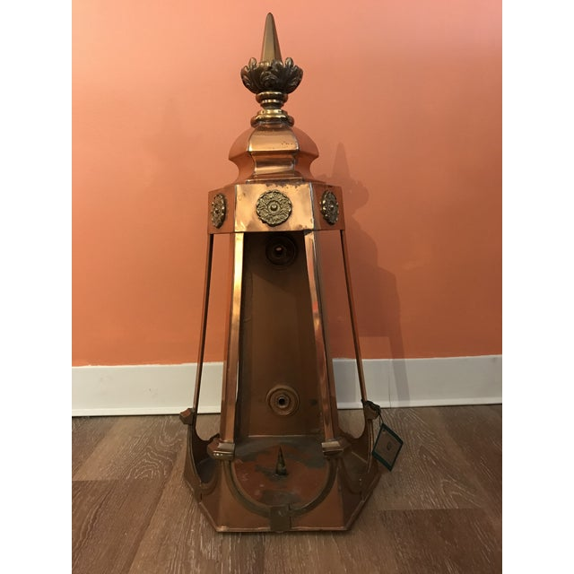 1950s Six Sided Copper Wall Mount Lantern For Sale - Image 10 of 10